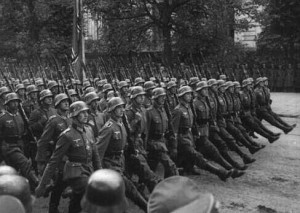 Nazi soldiers march in formation