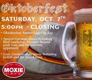 Oktoberfest @MOXIE with Live Music from Judith and the Jazz Krewe